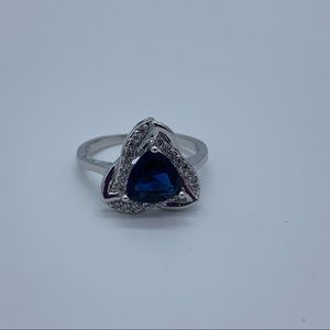 NEW sz 7 blue sapphire silver filled fashion ring